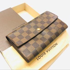 LOUIS VUITTON Damier Ebene Sarah Wallet box & bag